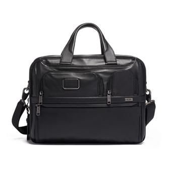 【SALE】ALPHA 3 Expandable Organizer Laptop Brief Leather 9603141DL3 Black Leather